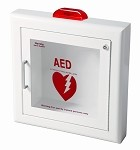 Semi-Recessed AED Wall Cabinet with Strobe Alarm