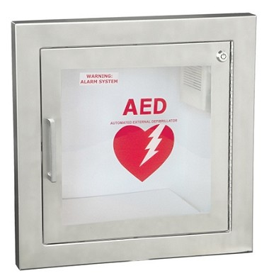 Semi-Recessed Stainless Steel AED Wall Cabinet w/1.5'' Trim