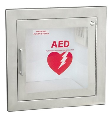 Fully Recessed AED Wall Cabinet With Stainless Steel Finish