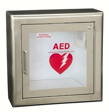 Semi-Recessed Stainless Steel AED Wall Cabinet w/3'' Trim